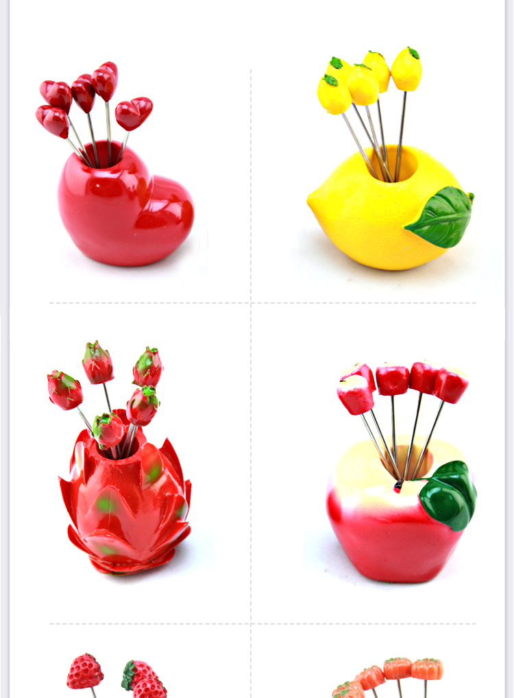 创意韩式火龙果水果叉套装图片