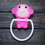 可爱粉猴强力吸盘毛巾挂/毛巾架