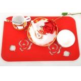 时尚创意毛毡餐垫隔热垫杯垫(红玫瑰)
