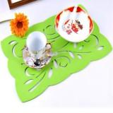 时尚创意毛毡餐垫隔热垫杯垫(绿花)