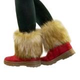 短款仿毛皮鞋靴套/护腿套(咖啡色+白色)