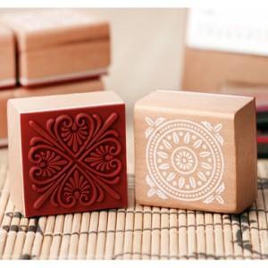 蕾丝花纹复古木质印章(正方形)4*4cm cs-6