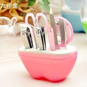 苹果型美容美甲工具9件套 粉色