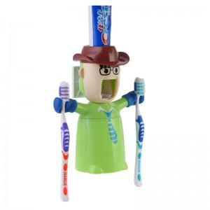 爱情勇士洗漱套装-自动挤牙膏+防尘漱口杯+情侣牙刷架三件套-潇洒白领