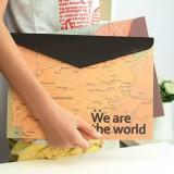 创意文具 简约复古 地图文件袋 A4档案袋 横款