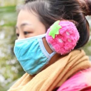 冬季防寒保暖口耳罩 草莓耳罩 Q-199 大红色
