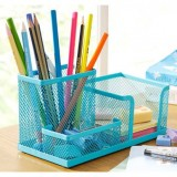 木晖 经典冷轧钢办公桌面收纳盒/笔筒 3格 纸盒装 湖蓝色