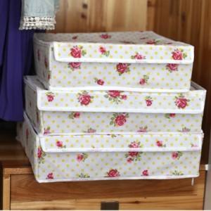 无纺布可折叠有盖内衣收纳盒三件套 玫瑰花(白色边)