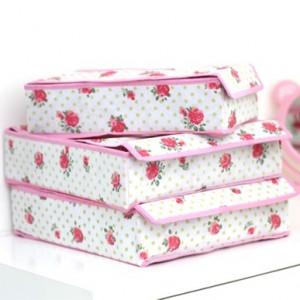 高品质有盖内衣收纳盒收纳三件套 玫瑰花(粉色边)