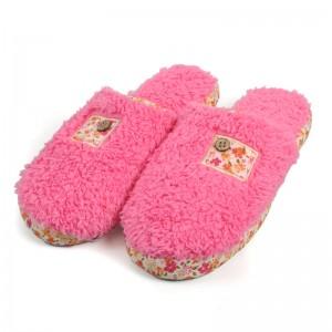 女款碎花包边短绒拖鞋/保暖家居棉拖鞋-粉色