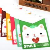 韩国文具 萌萌动物家族 可爱A4文件袋 档案袋(竖款) 深绿色
