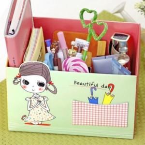 可爱女孩DIY桌面收纳盒(绿色)
