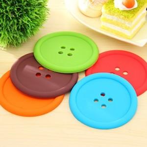 糖果色硅胶圆形纽扣杯垫 绿色