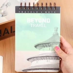 韩国文具 旅行国度 硬面活页线圈本 笔记本(中号)12B033 绿色
