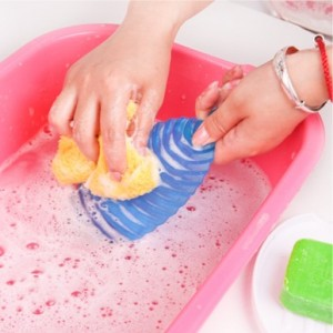 迷你型糖果色搓衣板+肥皂架 红色