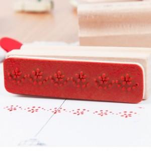 韩国创意木质彩色花腰印章 长条12款 HS-05