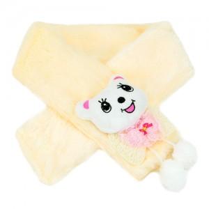 立体卡通保暖毛绒围巾--米黄猫