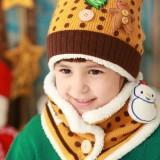 儿童款秋冬雪人加厚保暖帽子围巾两件套--黄色(41820)