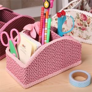 韩国蕾丝花边3格桌面收纳盒 遥控器收纳 弧形 粉色星星