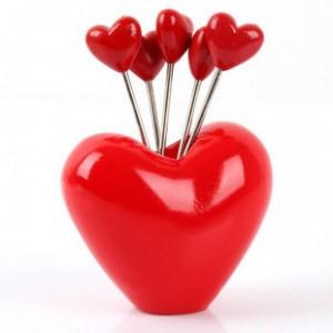 韩版仿真树脂水果叉子套装 零食叉 水果签--大红心形
