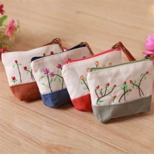 梅花刺绣单层大容量零钱包 橘色