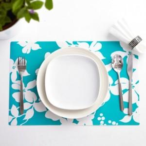 印花餐垫(4个装) 蓝色