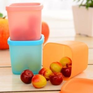 糖果色多功能迷你厨房微波冷藏食品保鲜盒(大号)380ml 橙色