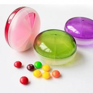 糖果色飞碟造型三格药盒 玫红色