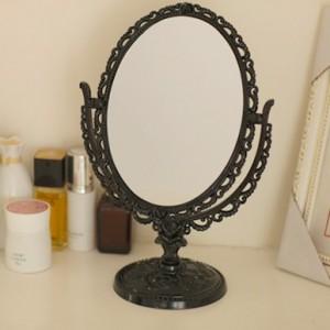 复古可旋转双面台式化妆镜 椭圆型