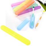 七彩糖果色磨砂便携式旅行防细菌牙刷盒-黄色 600个1箱