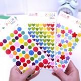 韩国FUNNY彩色DIY装饰贴纸(6张装) 圆点