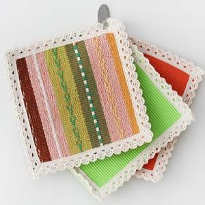 欧式纯棉编织正方形隔热杯垫 15*15cm 橘色