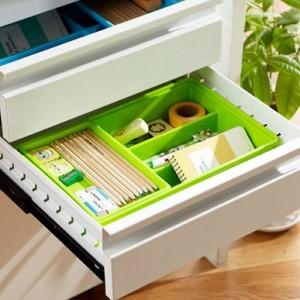 糖果色易分类双层抽屉收纳盒 蓝色