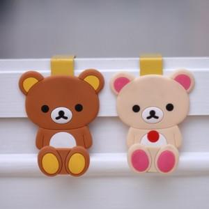 可爱卡通硅胶小动物门后挂钩棕熊
