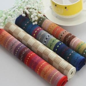 欧式纯棉布艺餐垫 全棉隔热垫 30*45cm 七彩蓝色