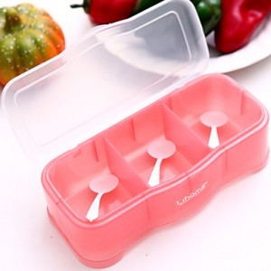 简约时尚银粉色厨房调味盒(三格)572