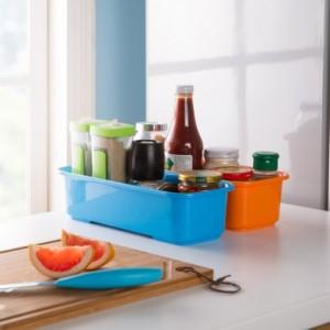 长方形糖果色多功能带滤孔双层杂物收纳盒 橙色