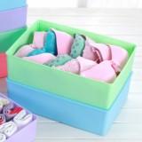 彩色注塑有盖内衣收纳盒 加高 紫色