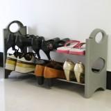 DIY两层鞋架(灰色)