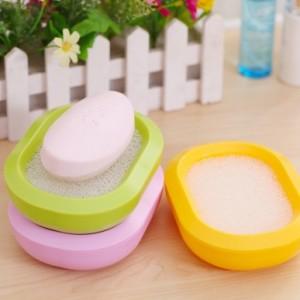 创意有氧沥水多功能吸水海绵双层香皂盒 黄色