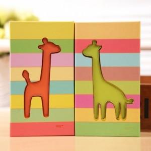 韩国文具炫彩小鹿双折便签本 74×2张(LB48K10-0183) 橙色