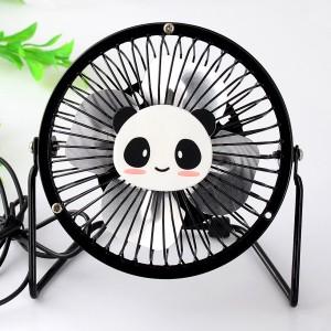 爆款动物卡通 4寸usb纯金属铝叶风扇360度旋转风扇 熊猫 60个/箱