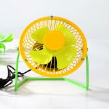 时尚撞色双色 4寸USB铁艺金属超静音360度旋转风扇 黄绿 60/箱