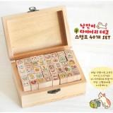 可爱木盒印章套装 第二辑 40枚入(猫咪)