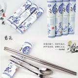 青花瓷不锈钢餐具三件套装-菊花 便携环保叉 勺筷子