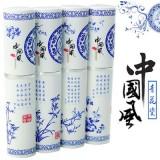 青花瓷不锈钢餐具三件套装-兰花 便携环保叉 勺筷子