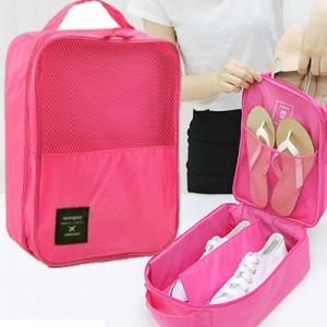 日韩国爆款monopoly旅行鞋类整理包 3位立式鞋袋 玫红色
