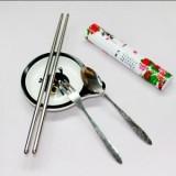 中国风不锈钢餐具三件套-牡丹 环保便携餐具套装