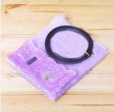 条纹自穿磁条软纱门 防蚊门帘-紫色(纯色款)