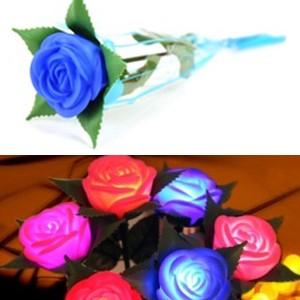 新款 永不凋谢的带枝条玫瑰花灯 七彩LED小夜灯--蓝色